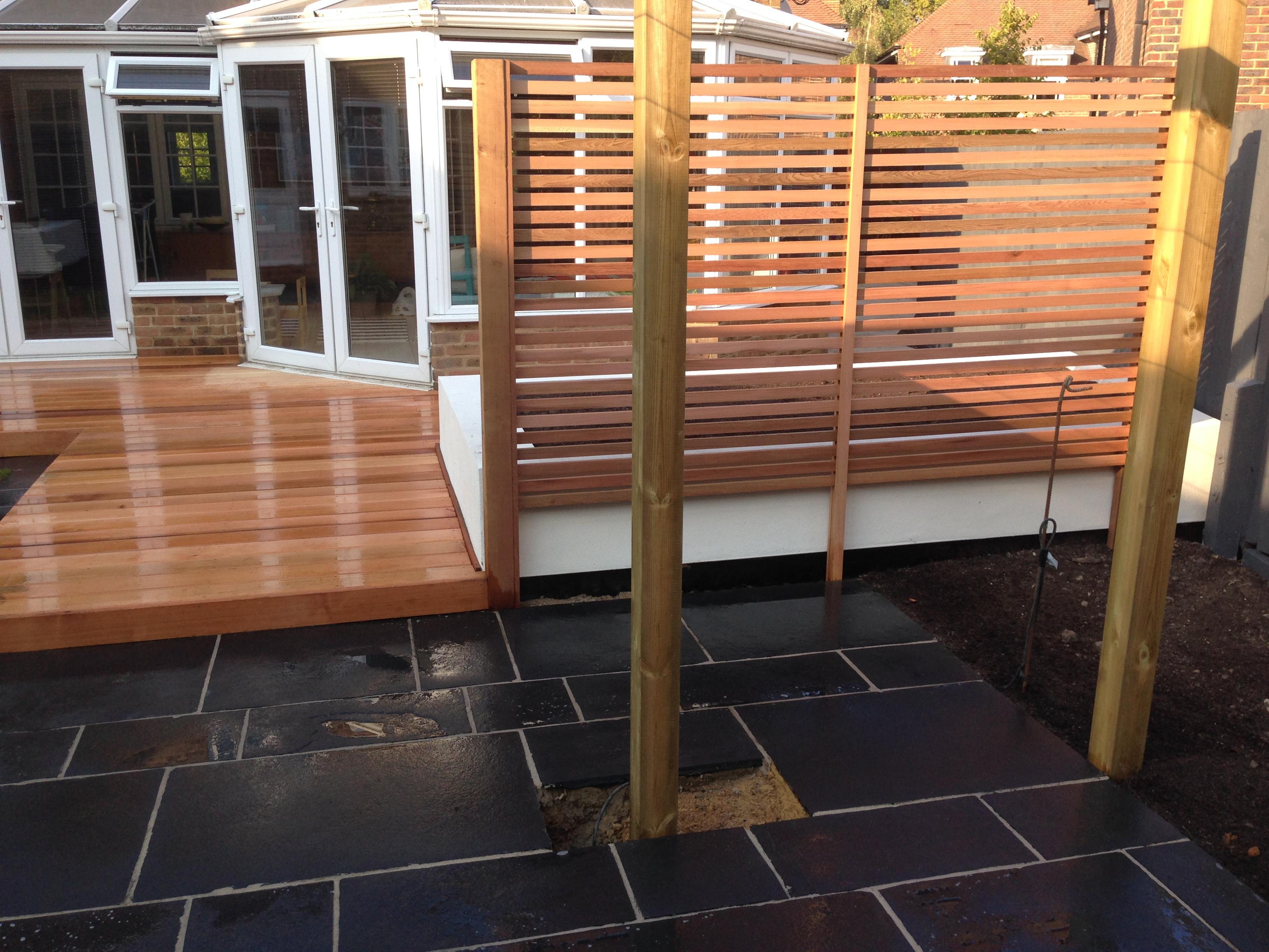 Hardwood decking.