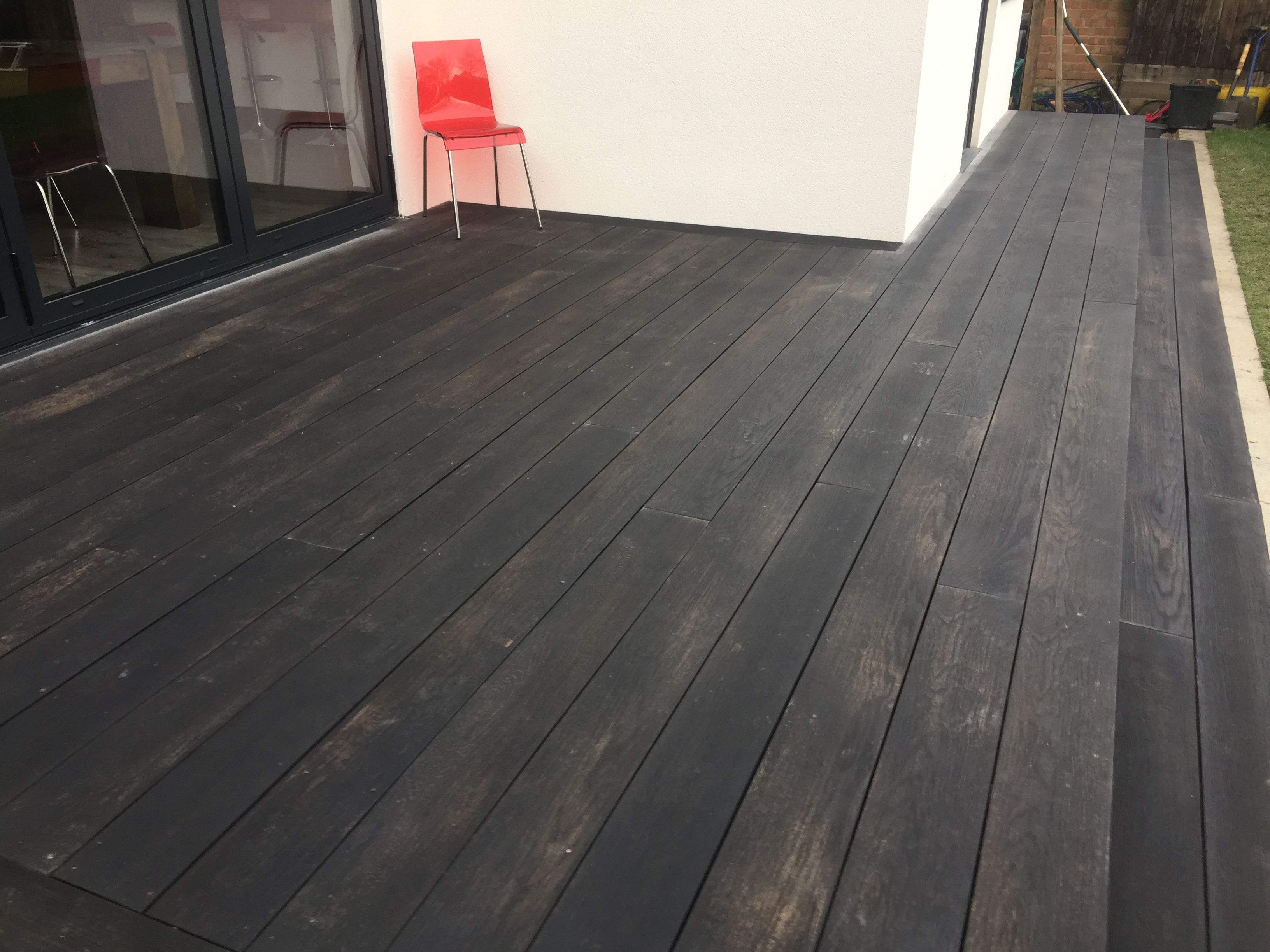 Dark wood decking.