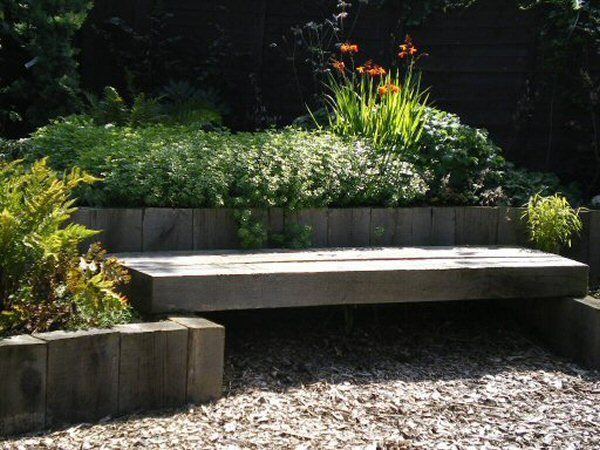 Wooden decking bench design