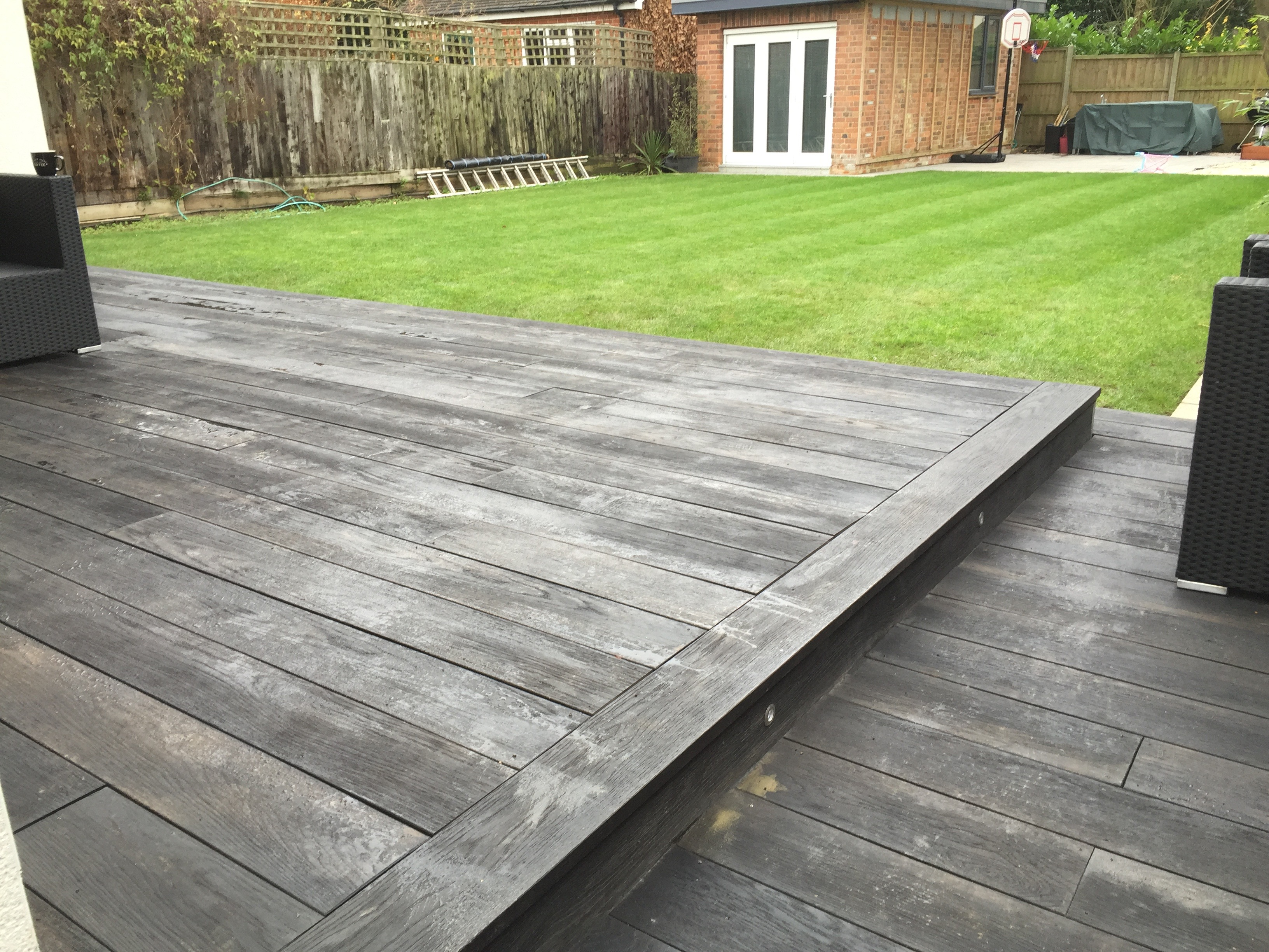 decking on to lawn