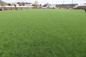 artificial grass fitted in sports field