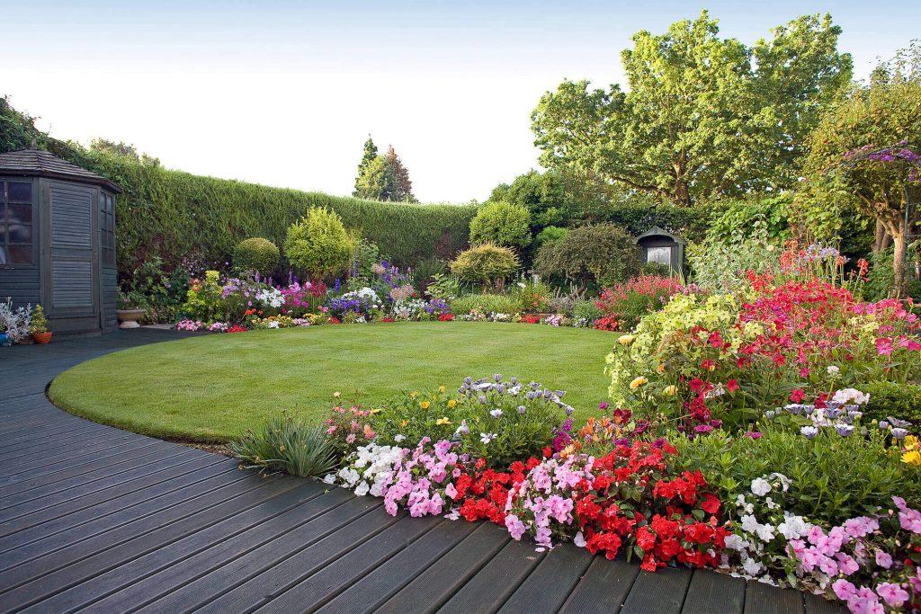 decking in a beautiful garden