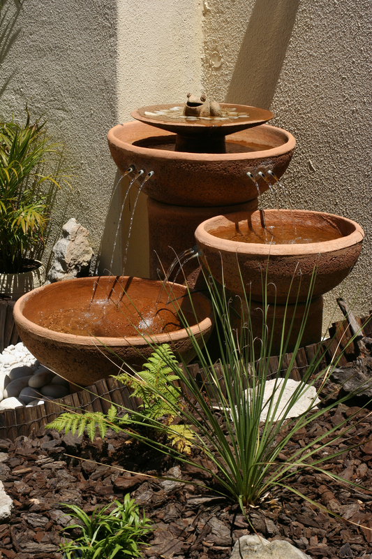 garden water feature three bowls with frog on top
